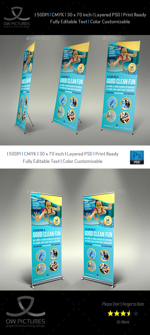Swimming Pool Cleaning Service Signage Template - Signage Print Templates