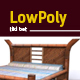 3D lowpoly tiki bed model