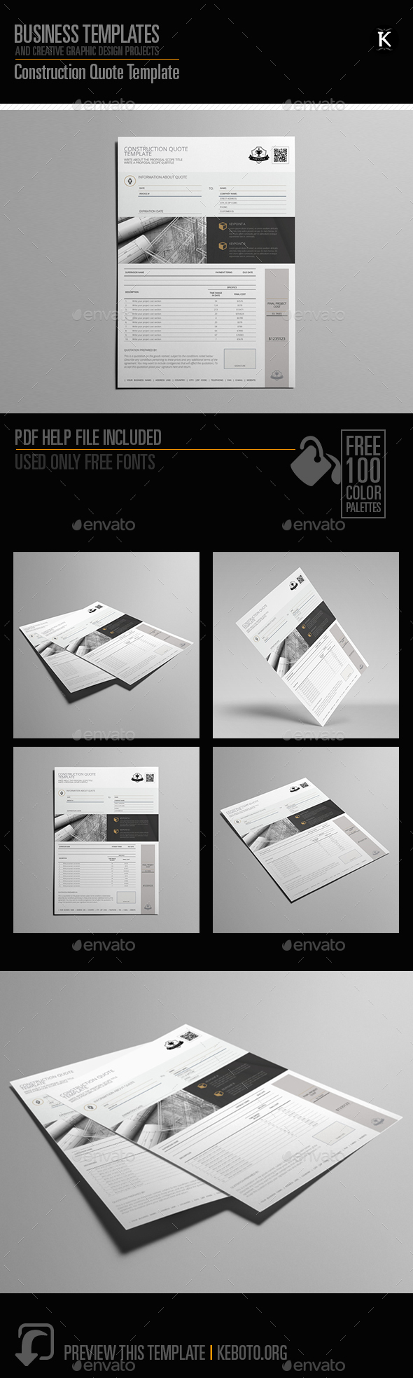 Construction Quote Template - Miscellaneous Print Templates