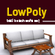 Lowpoly 3D bali beach sofa model