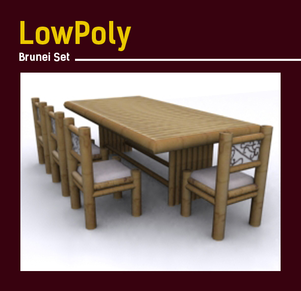 3D lowpoly Bamboo Brunei set model - 3DOcean Item for Sale