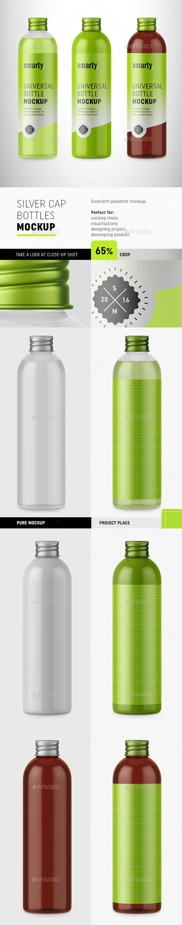 GraphicRiver Bottles with Silver Cap Mockup 20234390