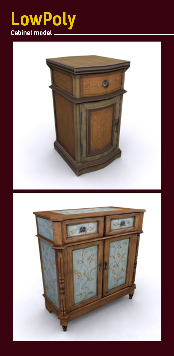 Lowpoly retro cabinet 3D model - 3DOcean Item for Sale