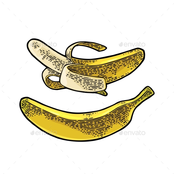 Whole and Half Peeled Banana - Food Objects