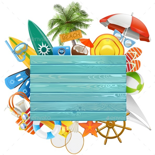 Vector Beach Concept with Blue Board - Travel Conceptual