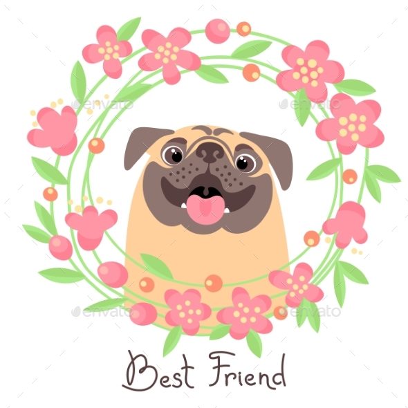 Pug Best Friend with Wreath of Flowers - Animals Characters