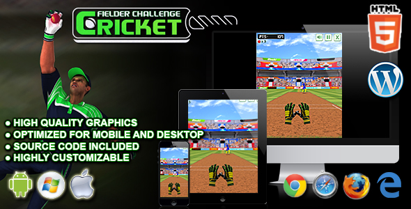 Cricket Fielder Challenge - HTML5 Sport Game - CodeCanyon Item for Sale