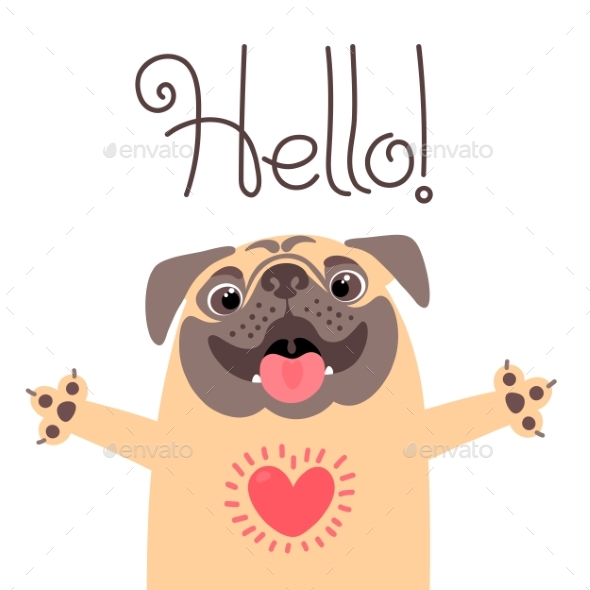 Greeting Card with  Pug Saying Hello - Animals Characters