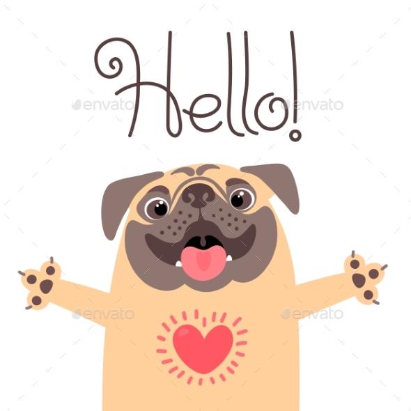 GraphicRiver Greeting Card with Pug Saying Hello 20234647