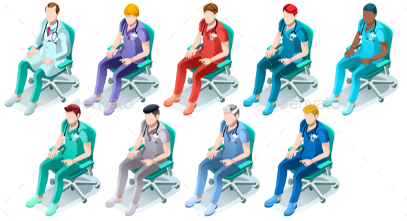 Male Nurse or Doctor Hospital Isometric Set - People Characters