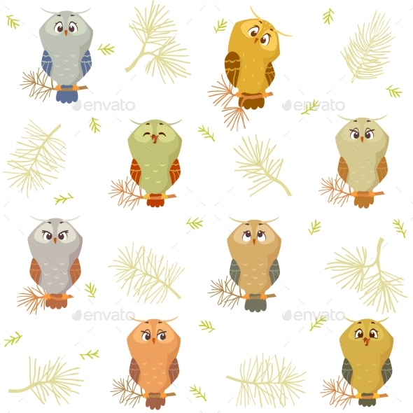 Owl Seamless - Animals Characters