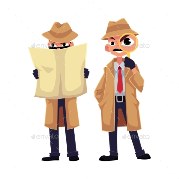 Detective Character Looking Through Magnifying - People Characters