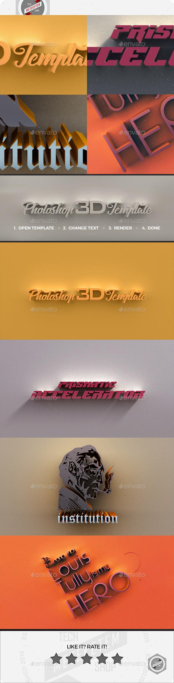 3D Photoshop Template 3 - Text 3D Renders