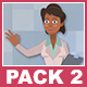 Black Female Doctor And Black Male Patient Cartoon Characters Pack 2