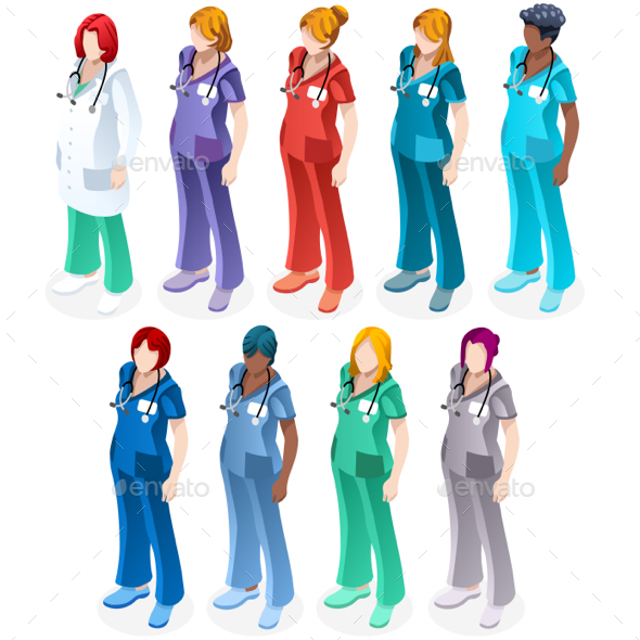 Female Nurse Medical Doctor Isometric People Vector Image Set - People Characters