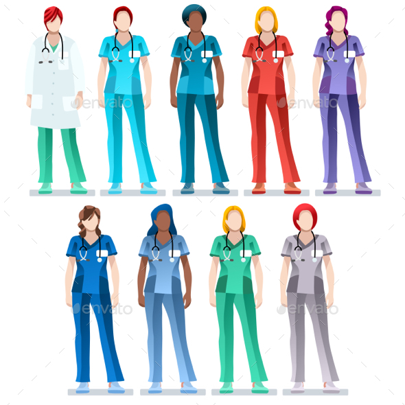 Female Nurse Scrub Uniform Doctor Vector Set - People Characters