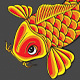 5 Stylized Koi Fish with Finger Waves