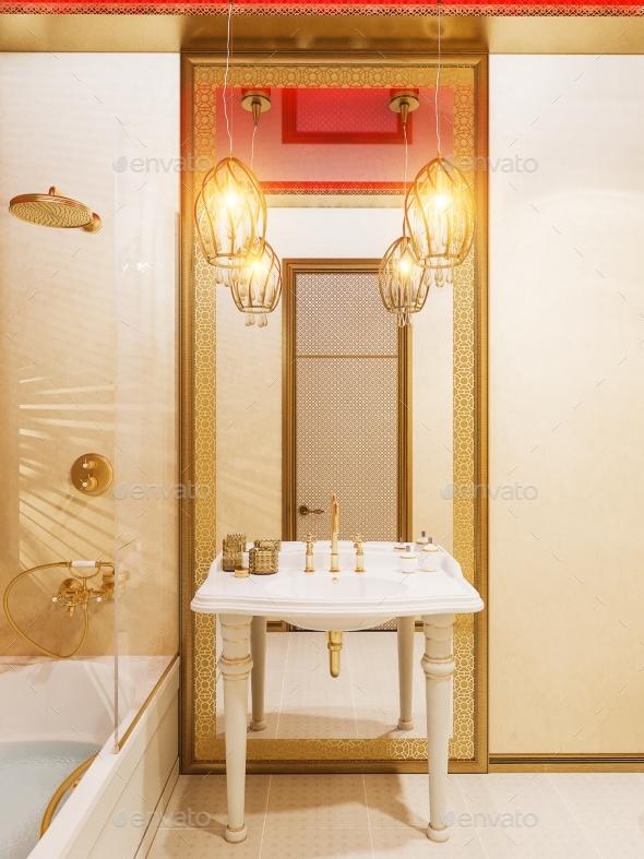 3d Render Bathroom Islamic Style Interior Design - Architecture 3D Renders