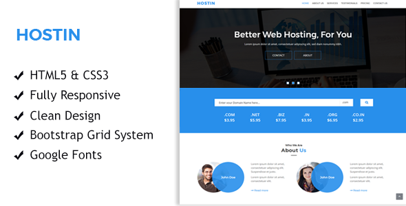 HostIn - One Page Responsive Hosting Template - Hosting Technology