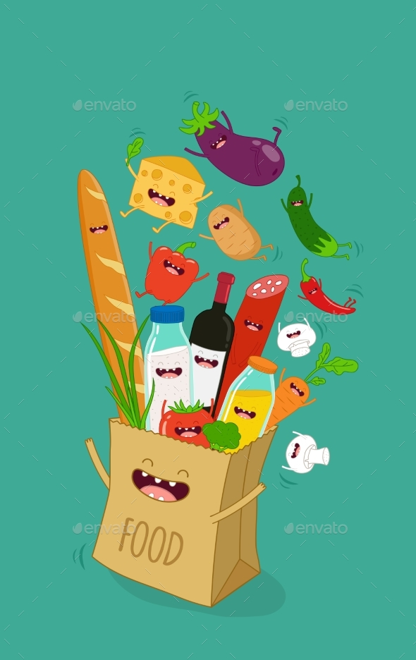 Various Cartoon Vegetables - Food Objects