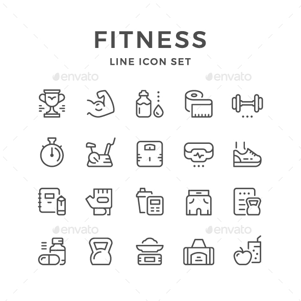 Set Line Icons of Fitness - Man-made objects Objects