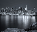 Black and white picture of New York City night skyline, USA