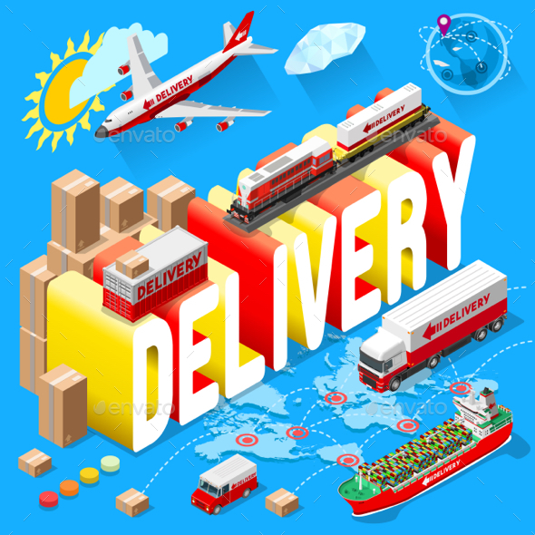 Banner for Delivery Services and Web E-Commerce - Miscellaneous Vectors