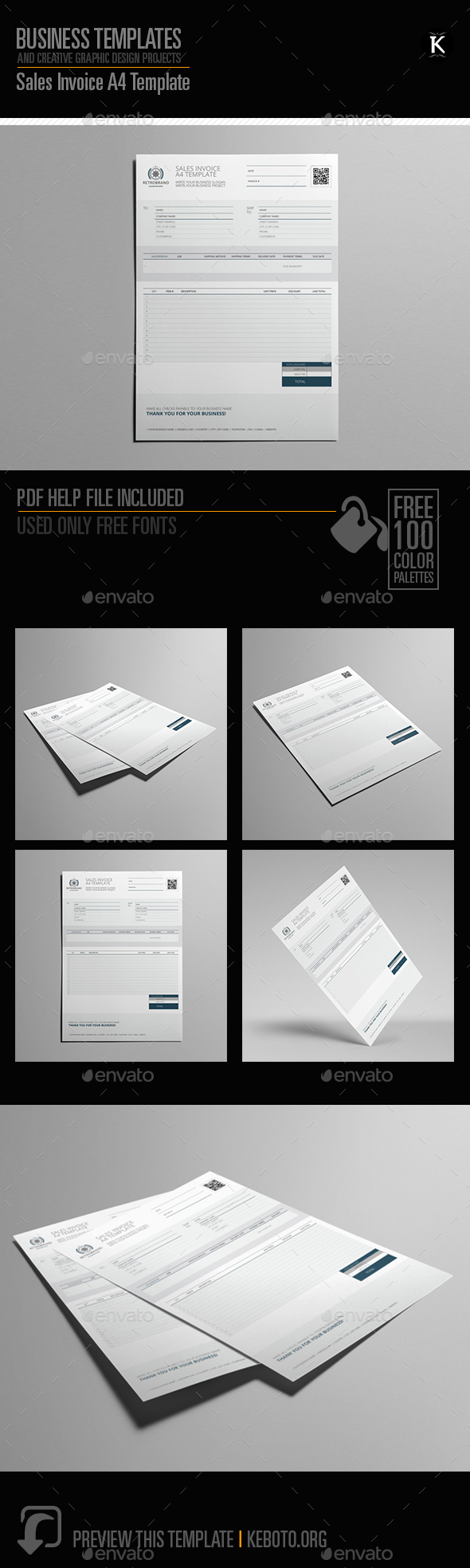 Sales Invoice A4 Template - Miscellaneous Print Templates