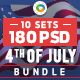 Fouth of July Sale Banners Bundle - 10 Sets - 180 Banners