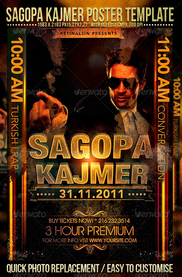 Sagopa Kajmer Poster Template - Clubs & Parties Events