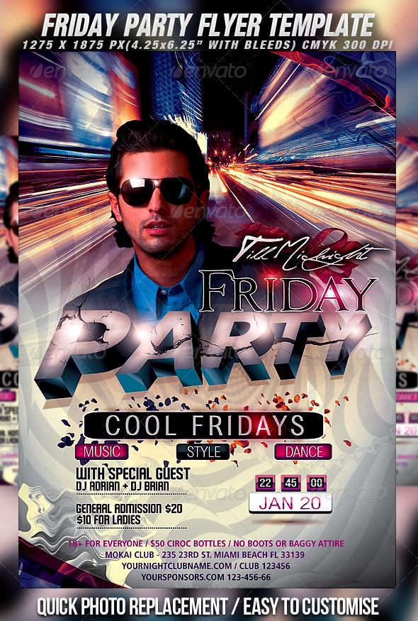 Friday Party Flyer Template - Clubs & Parties Events