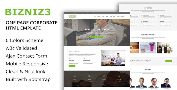 ThemeForest Bizniz3 One Page Mutlipurpose HTML5 Template 20237110