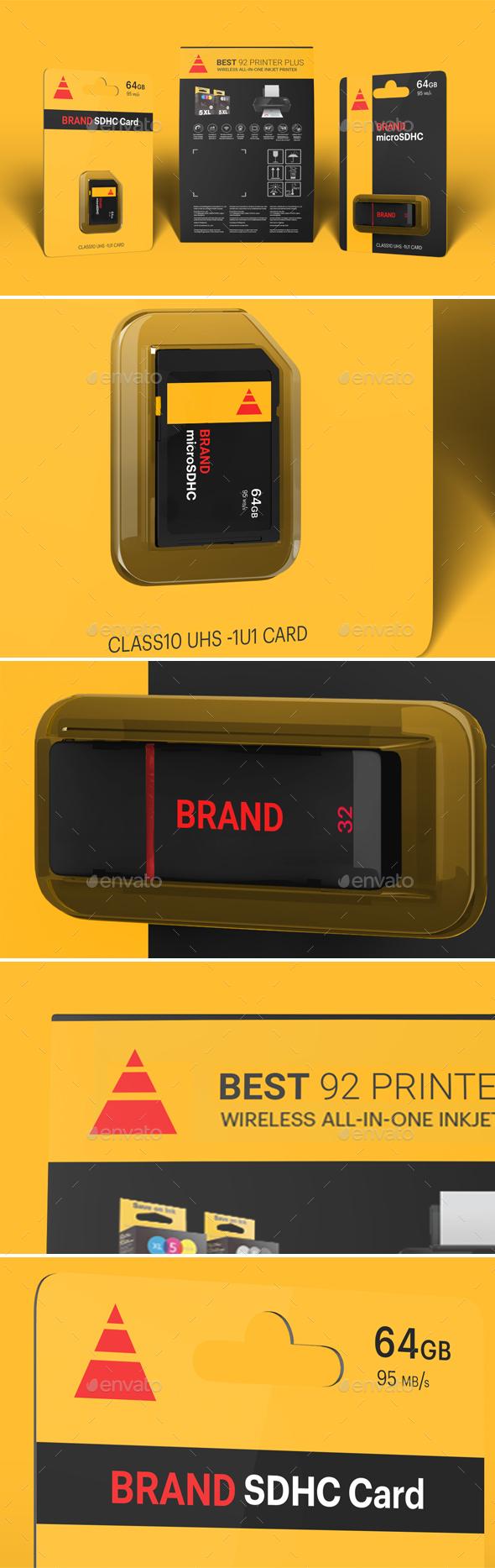 Hi-Res Photorealistic SD Card/USB Drive/Box mockup - Packaging Product Mock-Ups