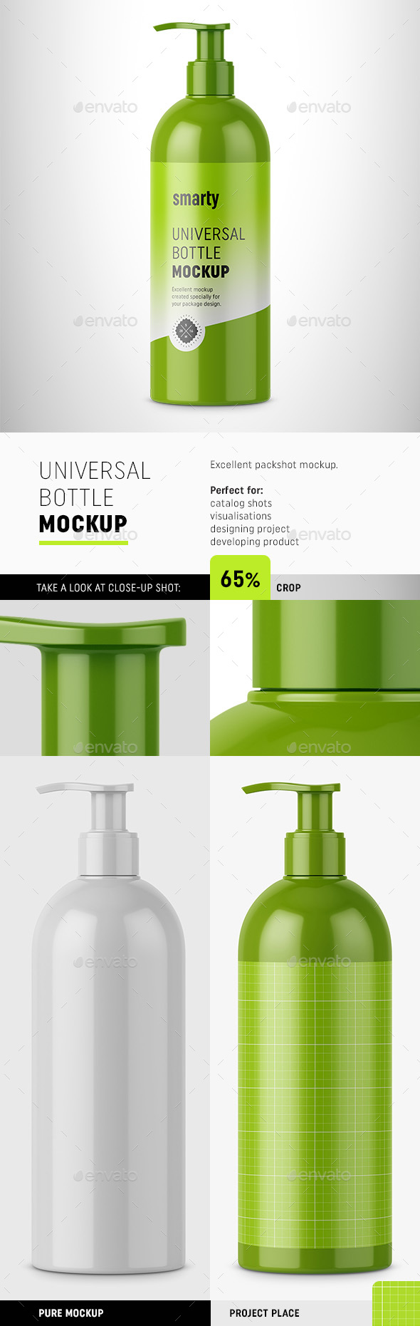 Glossy Bottle with Pump Mockup - Beauty Packaging