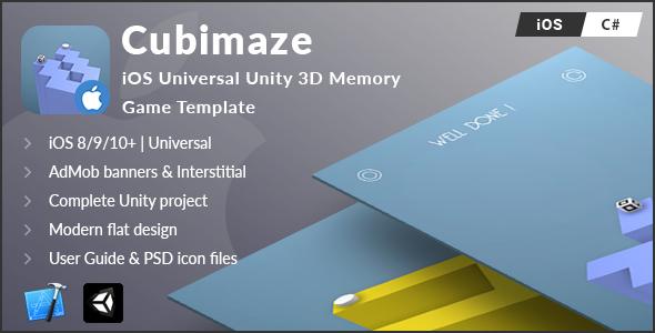 Cubimaze | iOS Universal Unity 3D Memory Game Template (C#)