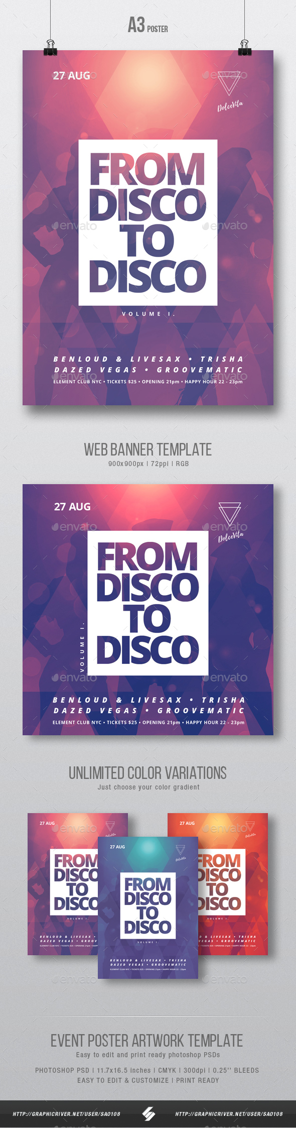 Disco 2 Disco - Party Flyer / Poster Artwork Template A3 - Clubs & Parties Events