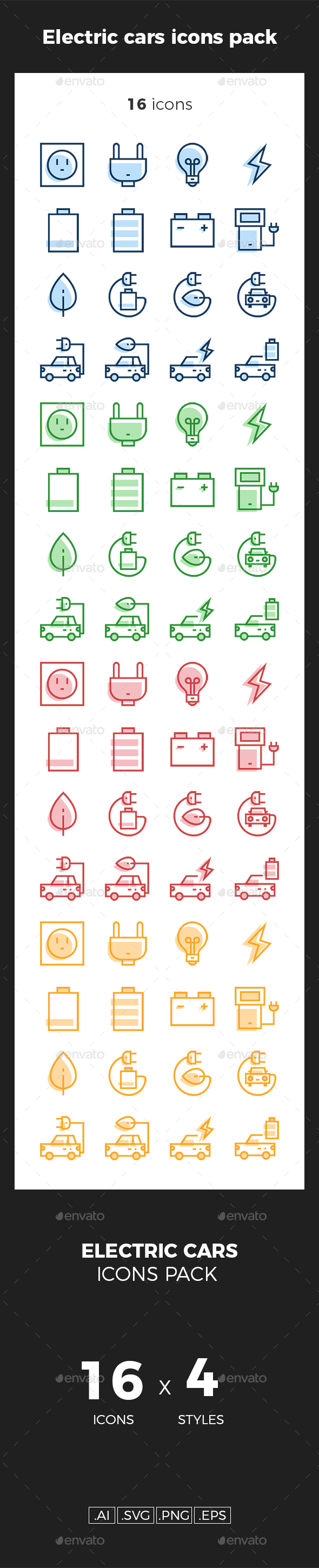 GraphicRiver Electric cars icons pack 20233367