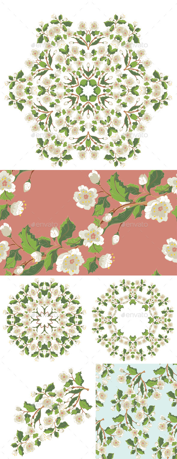 GraphicRiver White Blossom Ornament 20238314