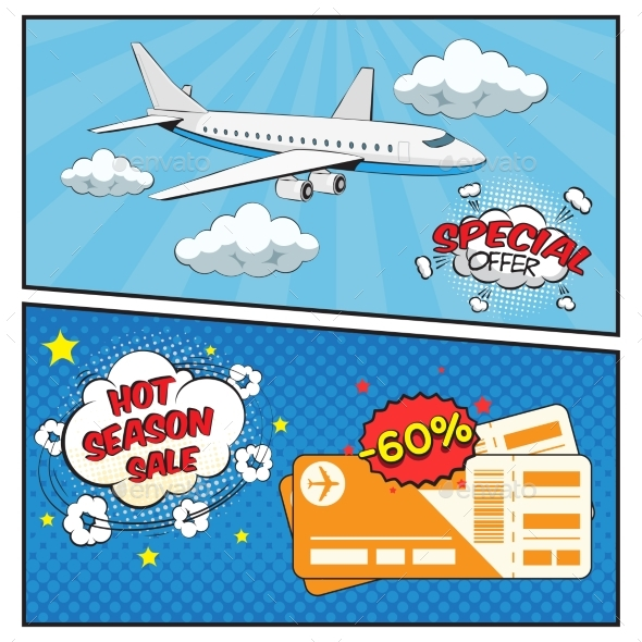 Air Tickets Sale Comic Style Banners - Business Conceptual