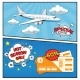 Air Tickets Sale Comic Style Banners