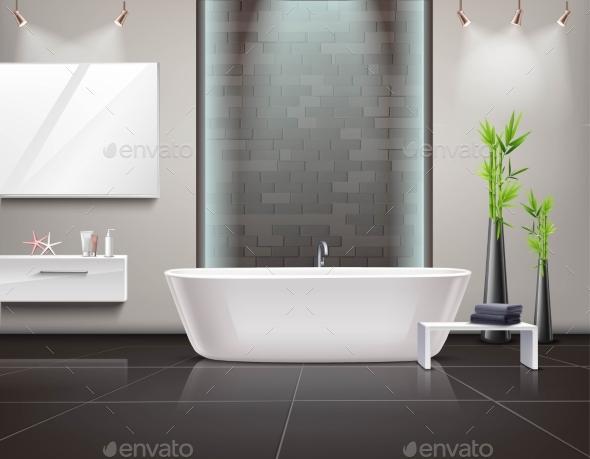 Realistic Bathroom Interior - Objects Vectors