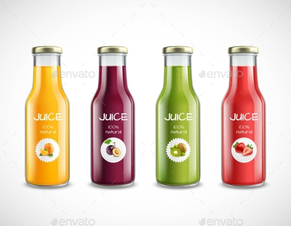 Juice Glass Bottles Set
