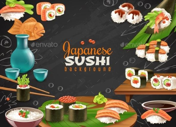 Japanese Sushi Background - Backgrounds Decorative