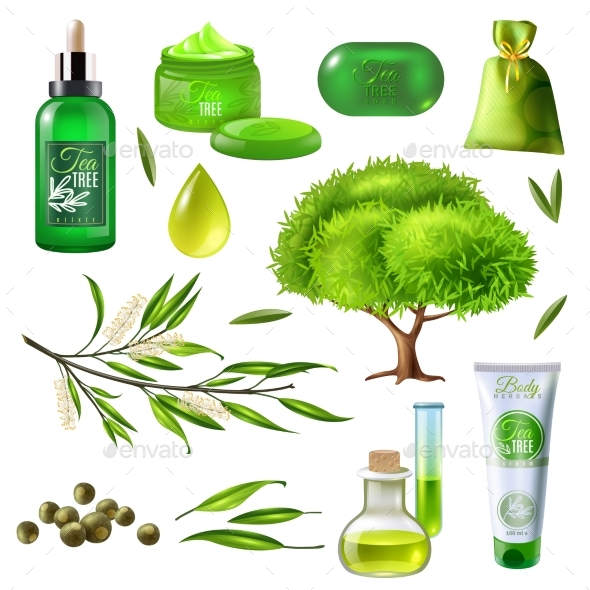 Products Of Tea Tree Set - Health/Medicine Conceptual