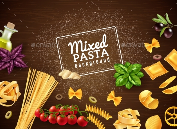 Mixed Pasta Background - Food Objects