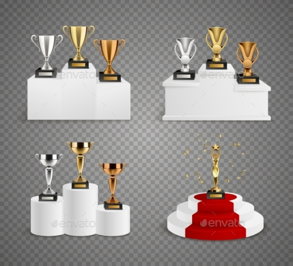 Trophies On Pedestals Realistic Design Set - Sports/Activity Conceptual