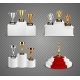 Trophies On Pedestals Realistic Design Set
