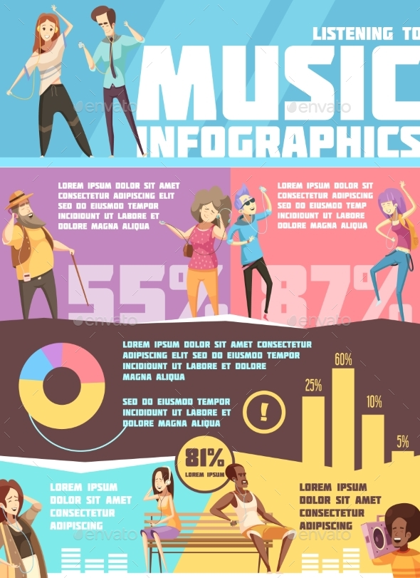 People Listening Music Infographics - People Characters