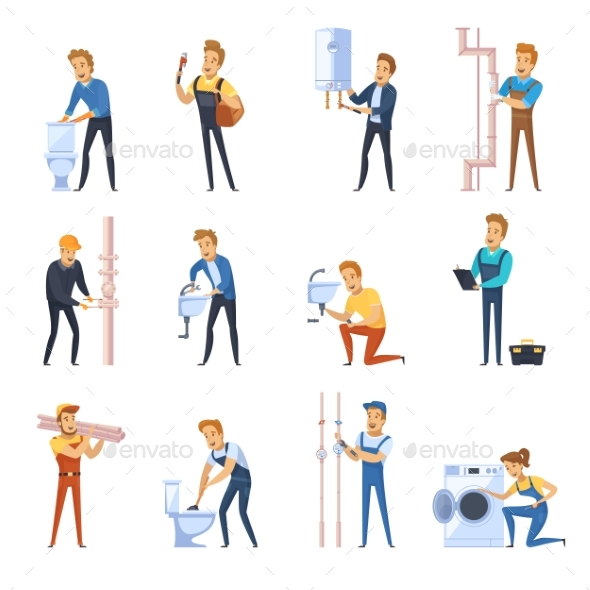 GraphicRiver Working Plumbers Flat Color Icons Set 20238814
