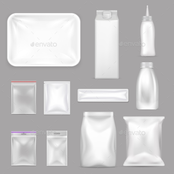 Blank Food Packaging Realistic Set - Food Objects